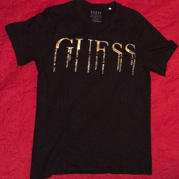 34add9af257b Guess Shirts | Black And Gold Tee Never Worn | Poshmark